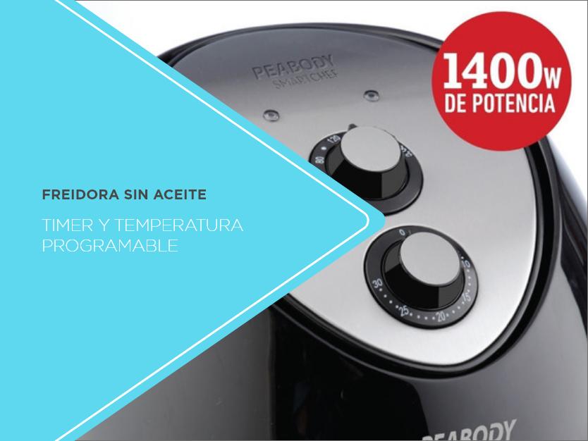 Freidora eléctrica sin aceite Peabody PE-AF605